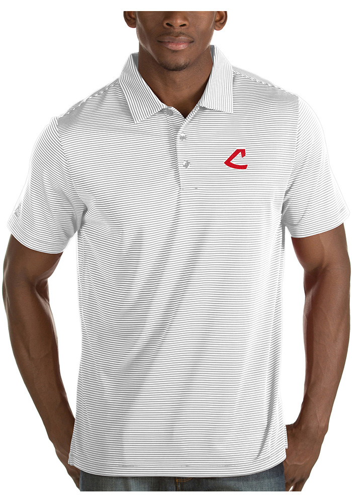 Antigua Cleveland Indians Mens White Quest Short Sleeve Polo - Image 1