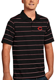 Antigua Cincinnati Reds Black Deluxe Short Sleeve Polo Shirt