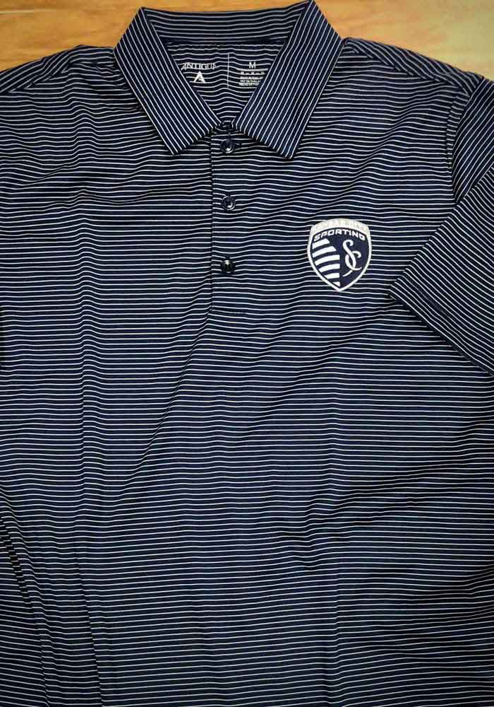 Antigua Sporting Kansas City Mens Navy Blue Quest Short Sleeve Polo - Image 2