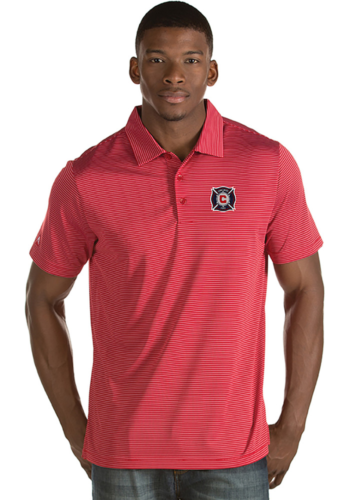 Antigua Chicago Fire Mens Red Quest Short Sleeve Polo - Image 1