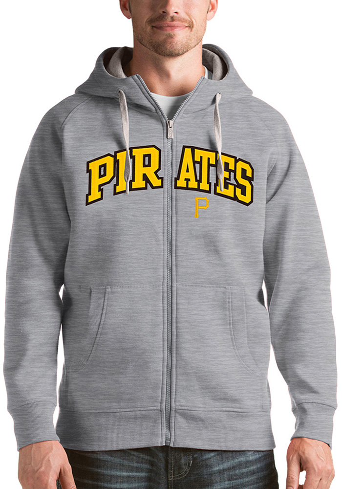 Antigua Pittsburgh Pirates Mens Grey Victory Long Sleeve Full Zip Jacket - Image 1