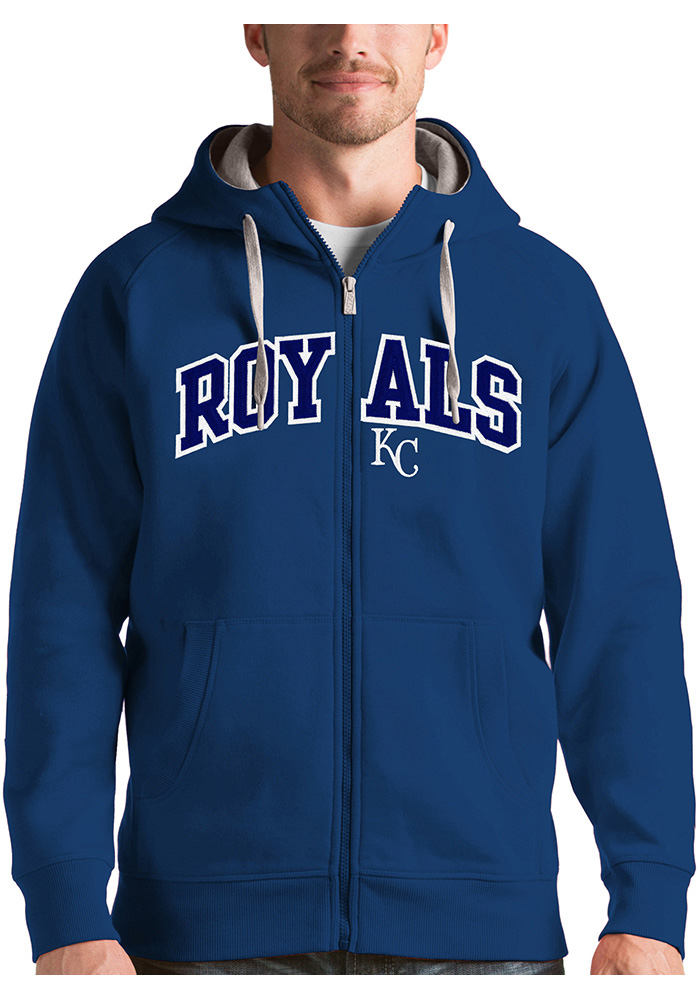 Antigua Kansas City Royals Mens Blue Victory Long Sleeve Full Zip Jacket - Image 1