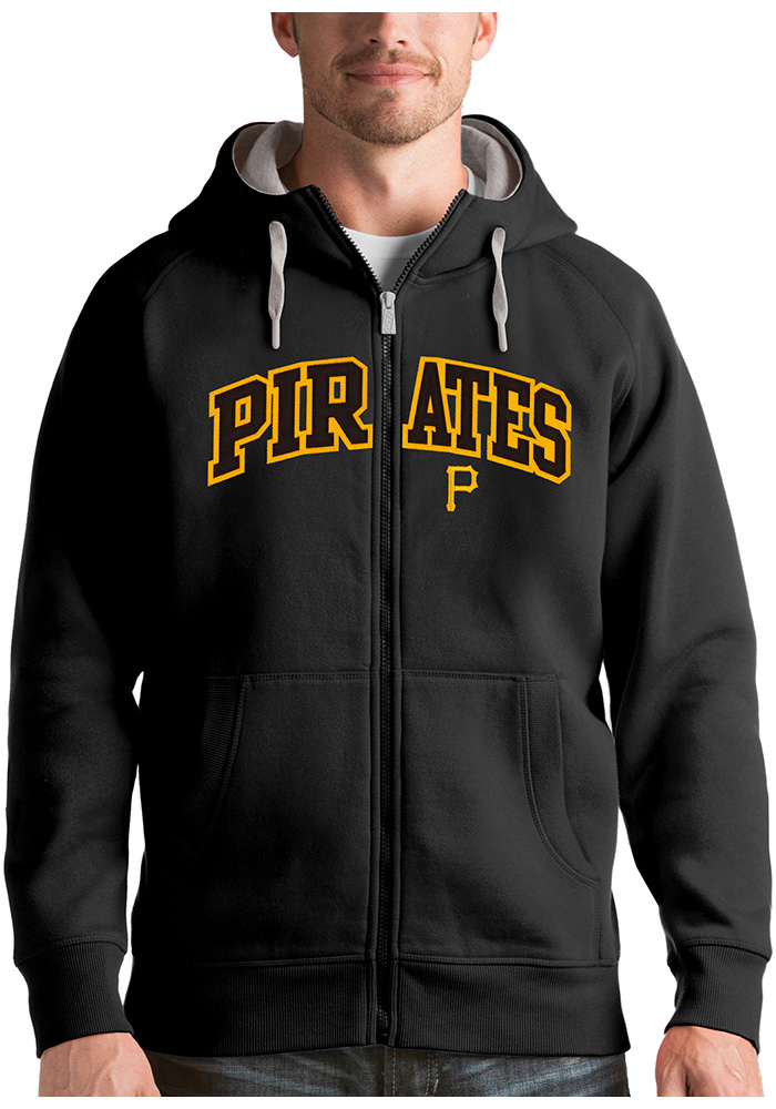 Antigua Pittsburgh Pirates Mens Black Victory Long Sleeve Full Zip Jacket - Image 1