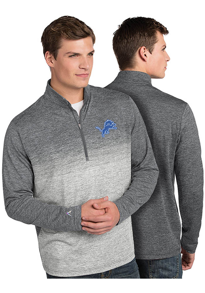 Antigua Detroit Lions Mens Grey Marina Long Sleeve 1/4 Zip Pullover - Image 1
