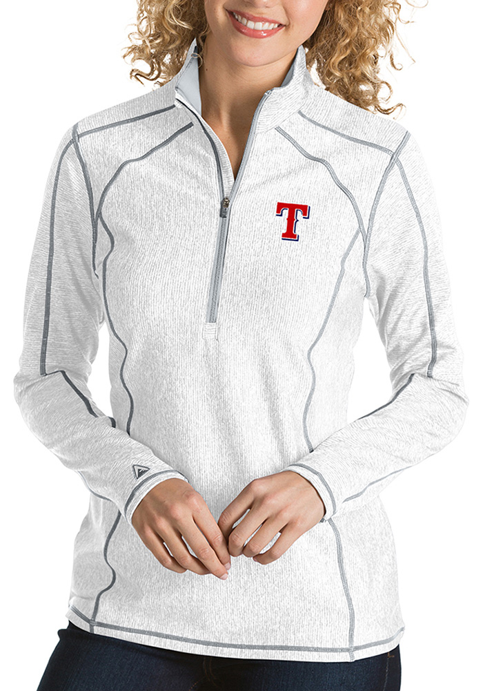Antigua Texas Rangers Womens White Tempo 1/4 Zip Pullover - Image 1