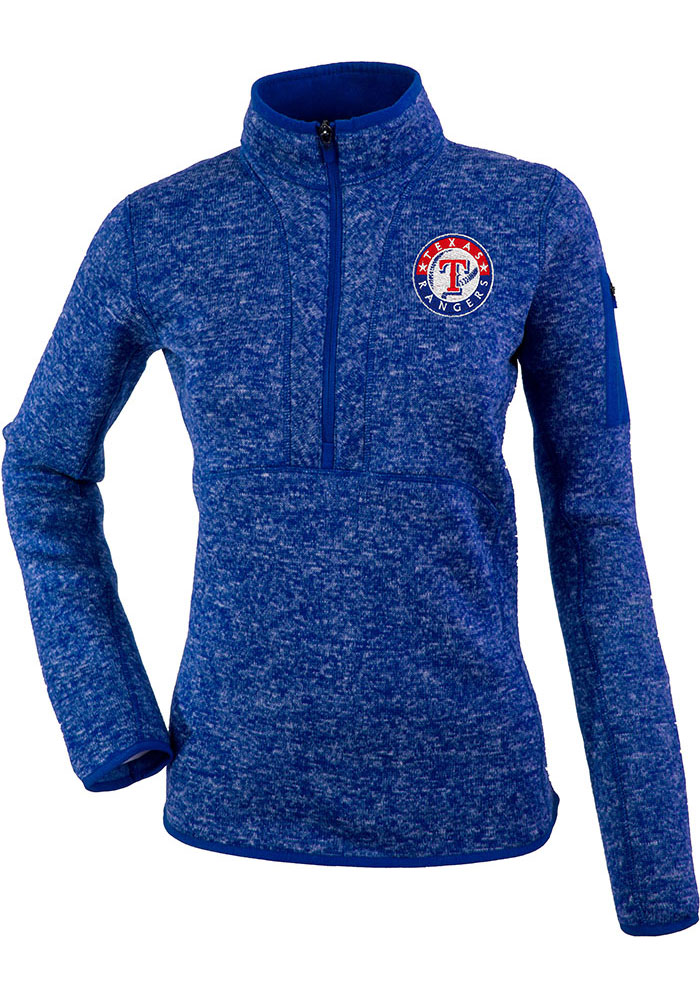 Antigua Texas Rangers Womens Blue Fortune 1/4 Zip Pullover - Image 1