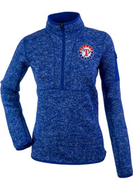 Texas Rangers Womens Antigua Fortune 1/4 Zip Pullover - Blue