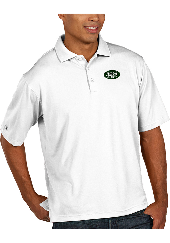 Antigua New York Jets Mens White Pique Short Sleeve Polo - Image 1