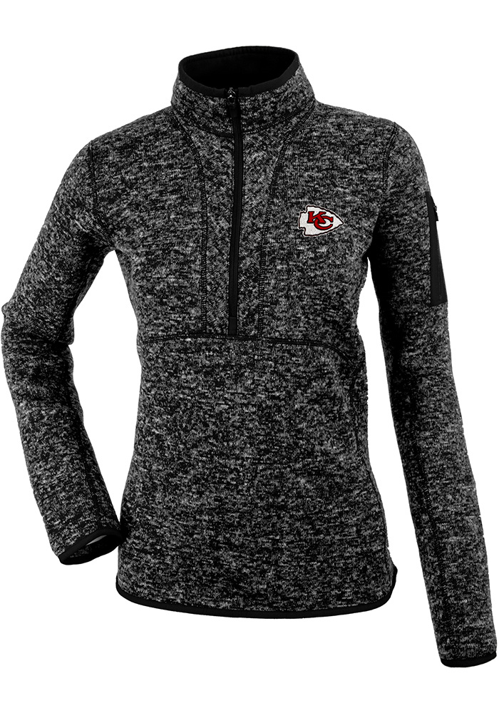 Antigua Kansas City Chiefs Womens Black Fortune 1/4 Zip Pullover - Image 1