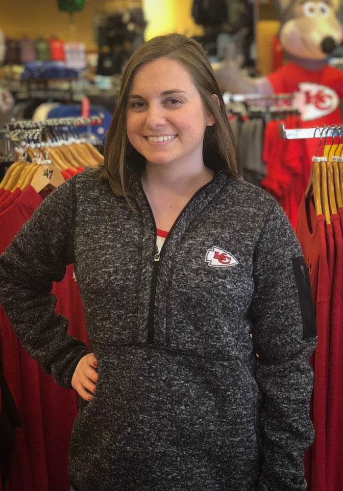 Antigua Kansas City Chiefs Womens Black Fortune 1/4 Zip Pullover - Image 2
