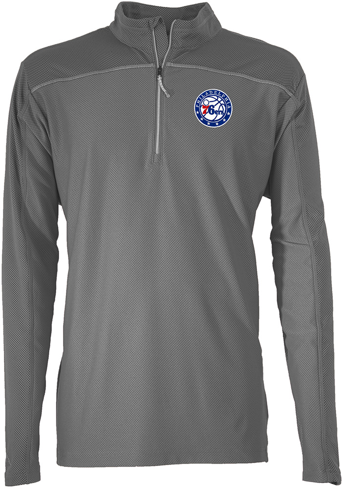882a2ecee Antigua Philadelphia 76ers Grey Profile 1 4 Zip Pullover