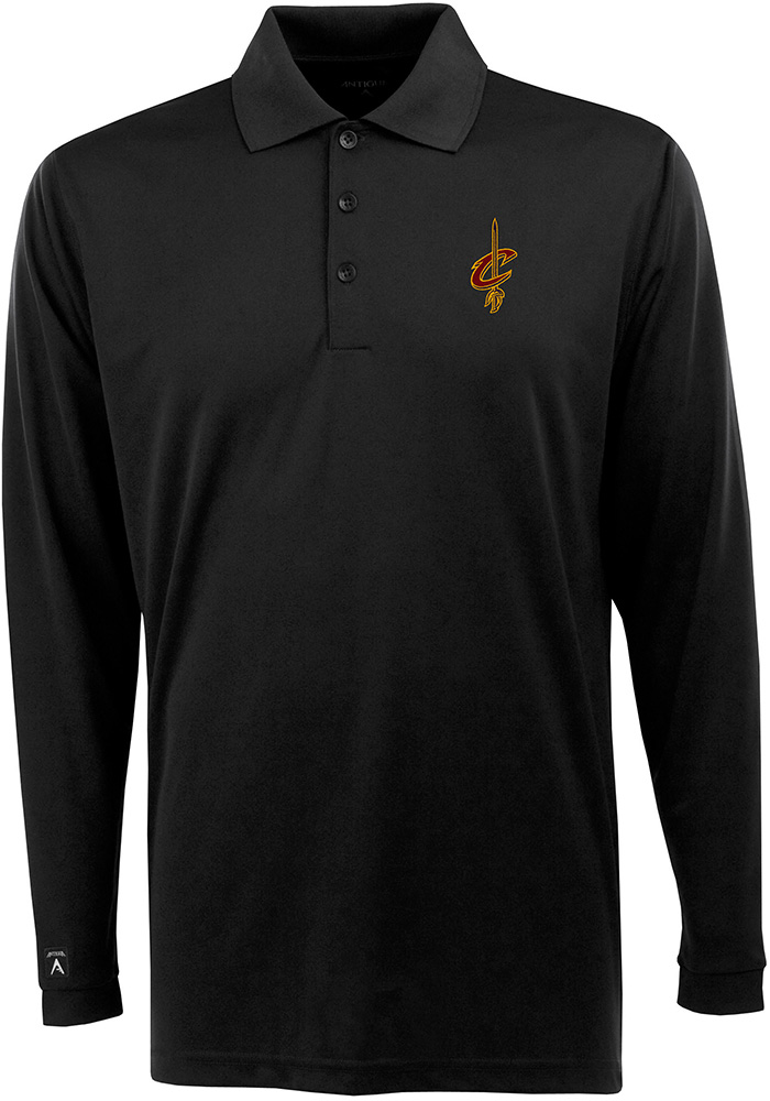 Antigua Cleveland Cavaliers Mens Black Exceed Long Sleeve Polo Shirt - Image 1