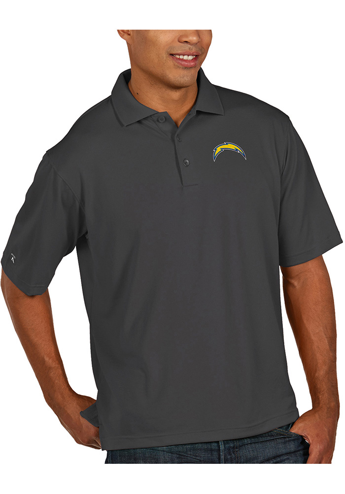 Antigua Los Angeles Chargers Mens Grey Pique Short Sleeve Polo - Image 1