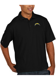 Antigua Los Angeles Chargers Black Pique Short Sleeve Polo Shirt
