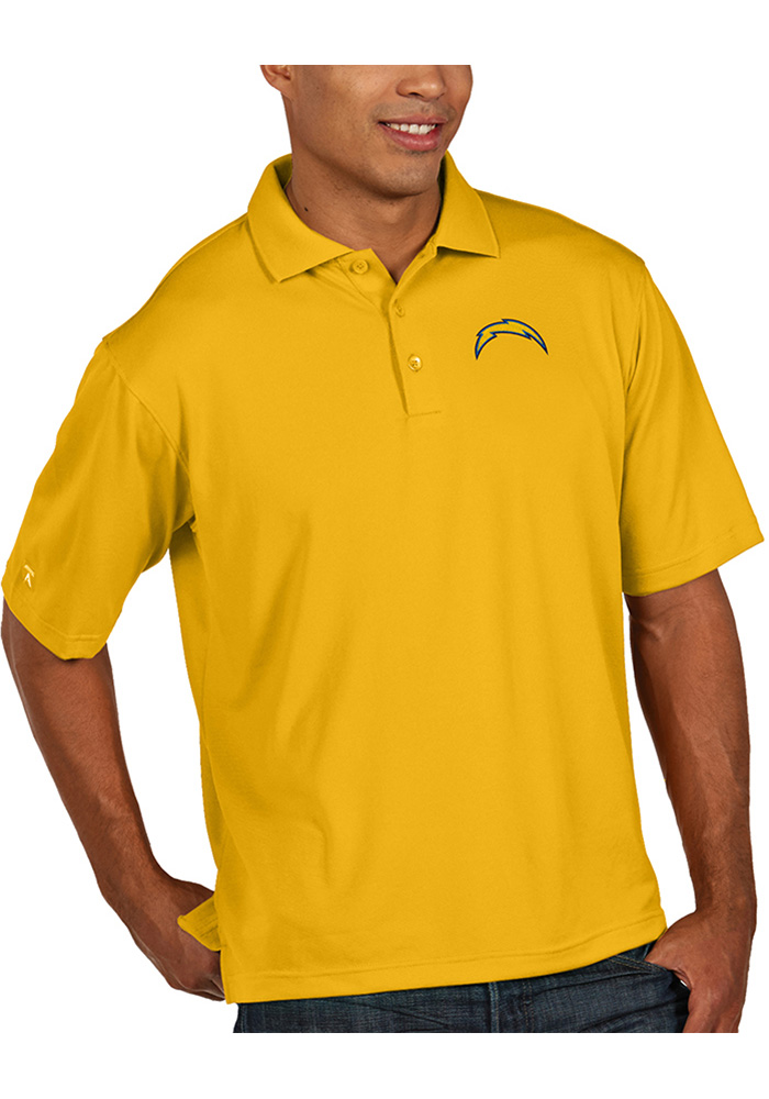 Antigua Los Angeles Chargers Gold Pique Short Sleeve Polo Shirt 965fd50cf