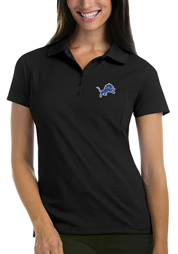 Antigua Detroit Lions Womens Black Pique Short Sleeve Polo Shirt - Image 1