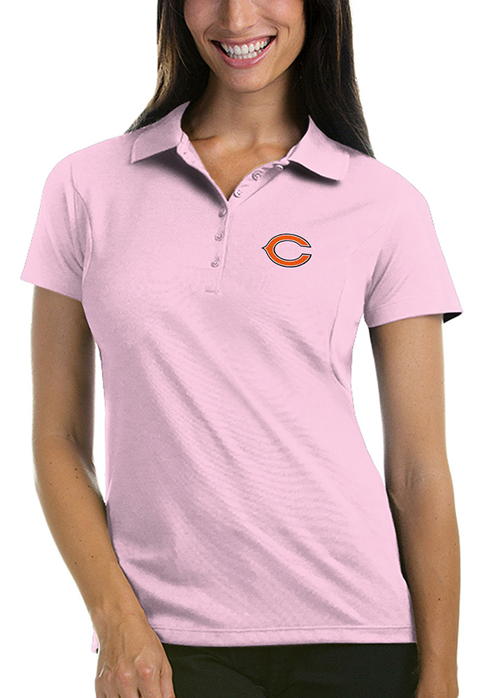 Chicago Bears Womens Pink Pique Short Sleeve Polo Shirt - Image 1