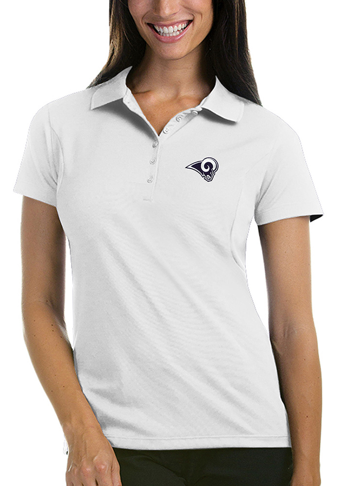 Antigua Los Angeles Rams Womens White Pique Short Sleeve Polo Shirt - Image 1