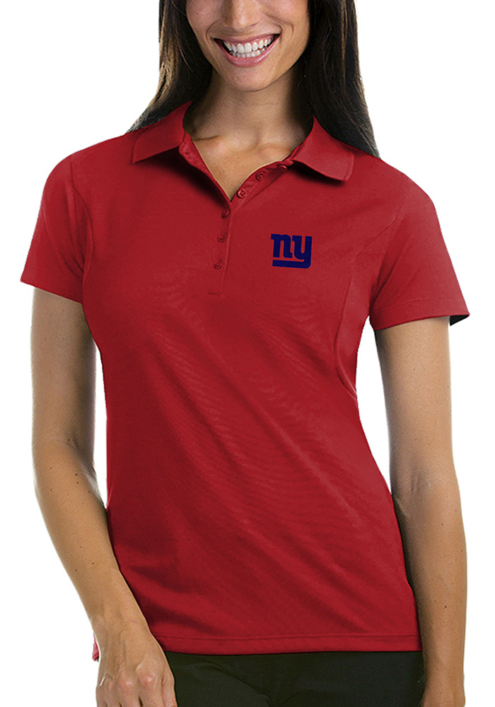 New York Giants Womens Red Pique Short Sleeve Polo Shirt - Image 1