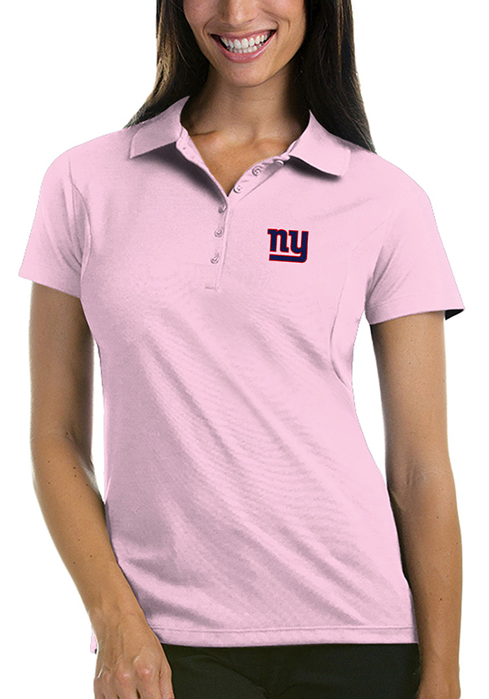 New York Giants Womens Pink Pique Short Sleeve Polo Shirt - Image 1