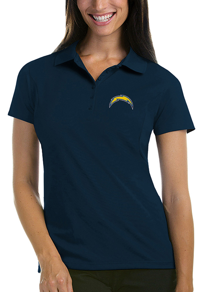 Antigua Los Angeles Chargers Womens Navy Blue Pique Short Sleeve Polo Shirt - Image 1
