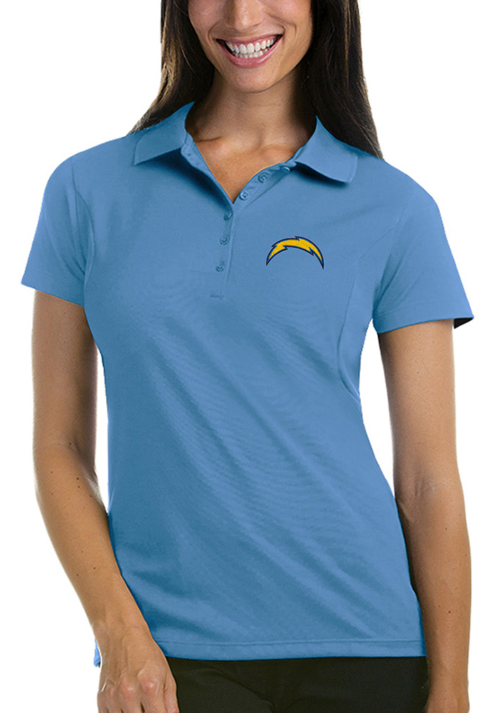 Antigua Los Angeles Chargers Womens Blue Pique Short Sleeve Polo Shirt - Image 1
