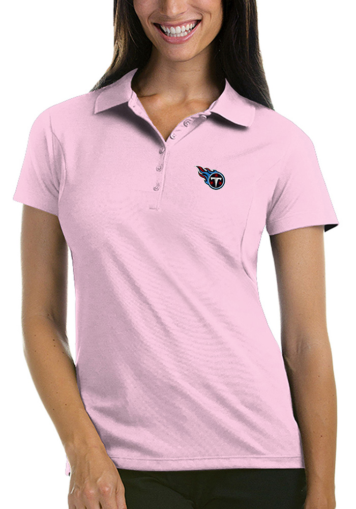 Antigua Tennessee Titans Womens Pink Pique Short Sleeve Polo Shirt - Image 1