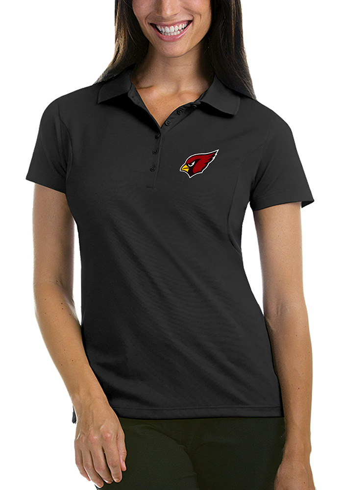 Arizona Cardinals Womens Grey Pique Short Sleeve Polo Shirt - Image 1