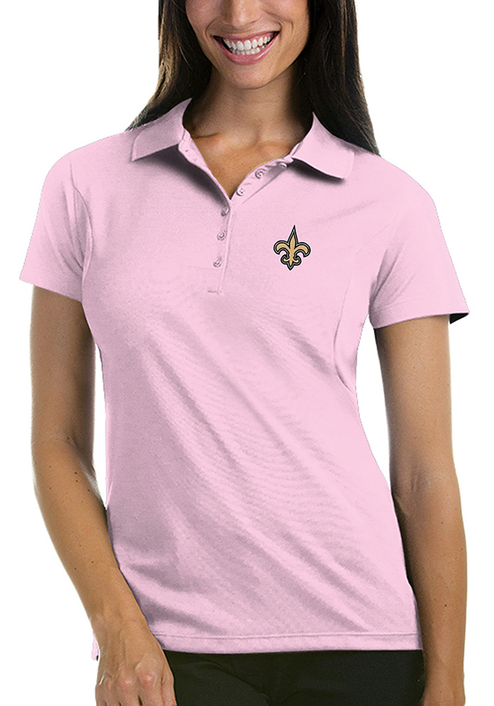 info for 98f7e 18800 New Orleans Saints Womens Pink Pique Short Sleeve Polo Shirt