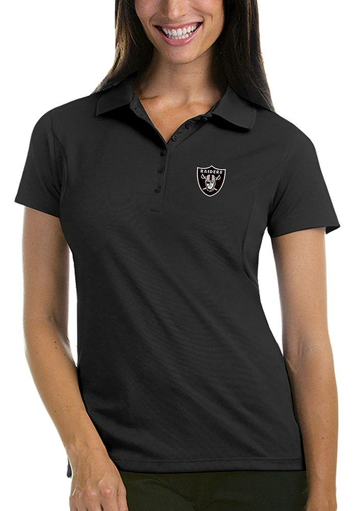 Antigua Las Vegas Raiders Womens Grey Pique Short Sleeve Polo Shirt - Image 1