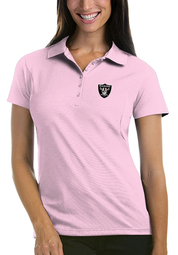 Oakland Raiders Womens Pink Pique Short Sleeve Polo Shirt - Image 1