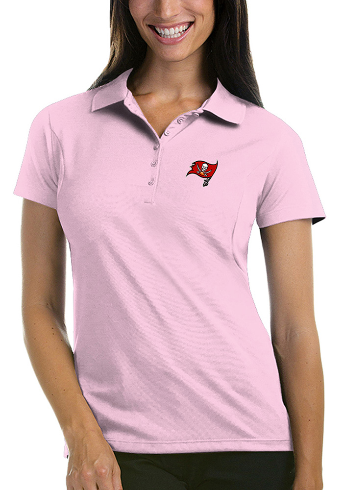 7be67028 Tampa Bay Buccaneers Womens Pink Pique Short Sleeve Polo Shirt - Image 1