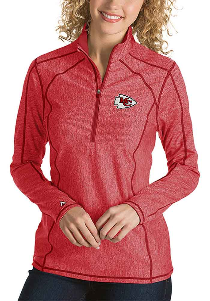Antigua KC Chiefs Womens Red Tempo 1/4 Zip Pullover - Image 1