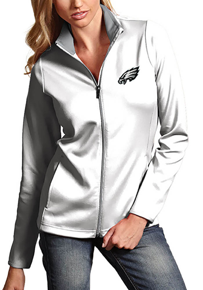 Antigua Philadelphia Eagles Womens White Leader Light Weight Jacket - Image 1