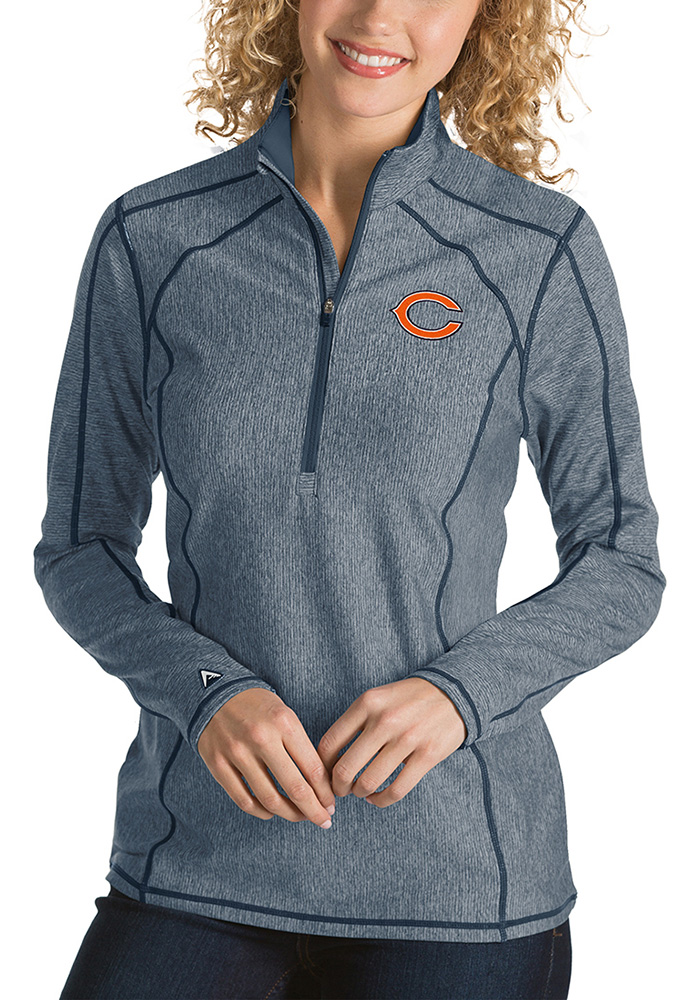 Antigua Chicago Bears Womens Navy Blue Tempo 1/4 Zip Pullover - Image 1