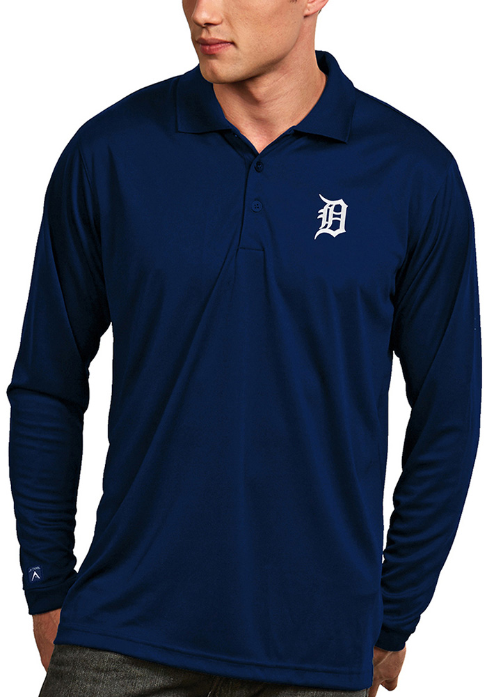 Antigua Detroit Tigers Mens Navy Blue Exceed Long Sleeve Polo Shirt - Image 1