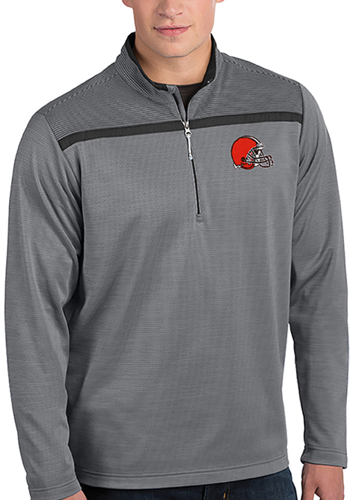 Antigua Cleveland Browns Mens Grey Cryptic Long Sleeve 1/4 Zip Pullover - Image 1