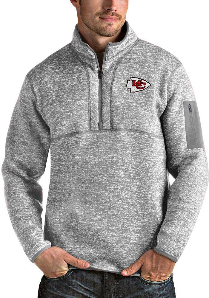Antigua Kansas City Chiefs Mens Grey Fortune Long Sleeve 1/4 Zip Pullover - Image 1