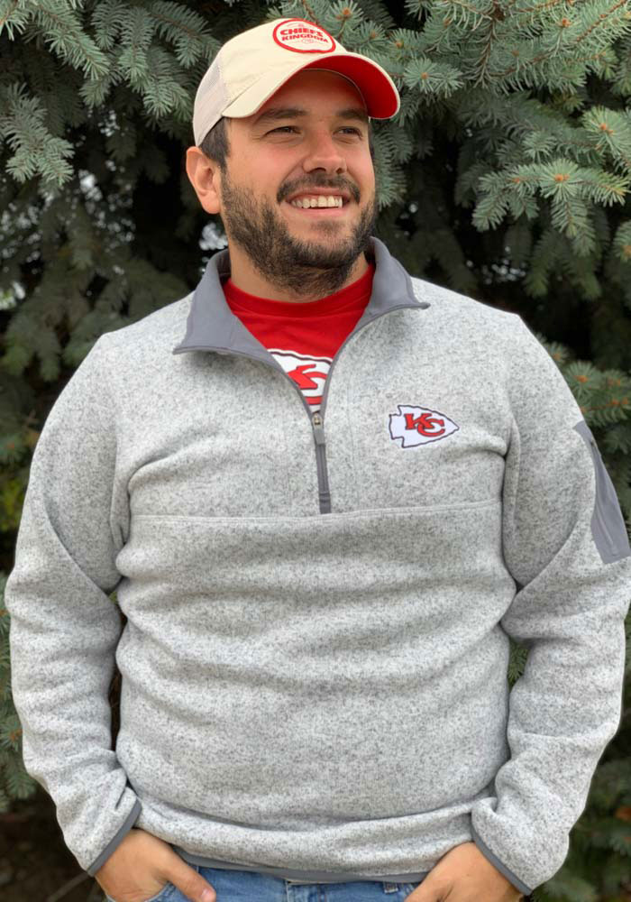 Antigua Kansas City Chiefs Mens Grey Fortune Long Sleeve 1/4 Zip Pullover - Image 3