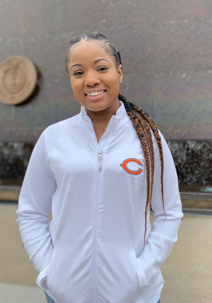 Antigua Chicago Bears Womens White Sonar Light Weight Jacket - Image 2