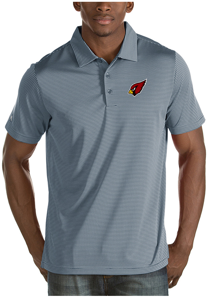 Antigua Arizona Cardinals Mens Grey Quest Short Sleeve Polo - Image 1