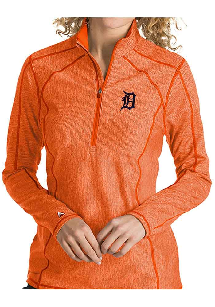 Antigua Detroit Tigers Womens Orange Tempo 1/4 Zip Pullover - Image 1