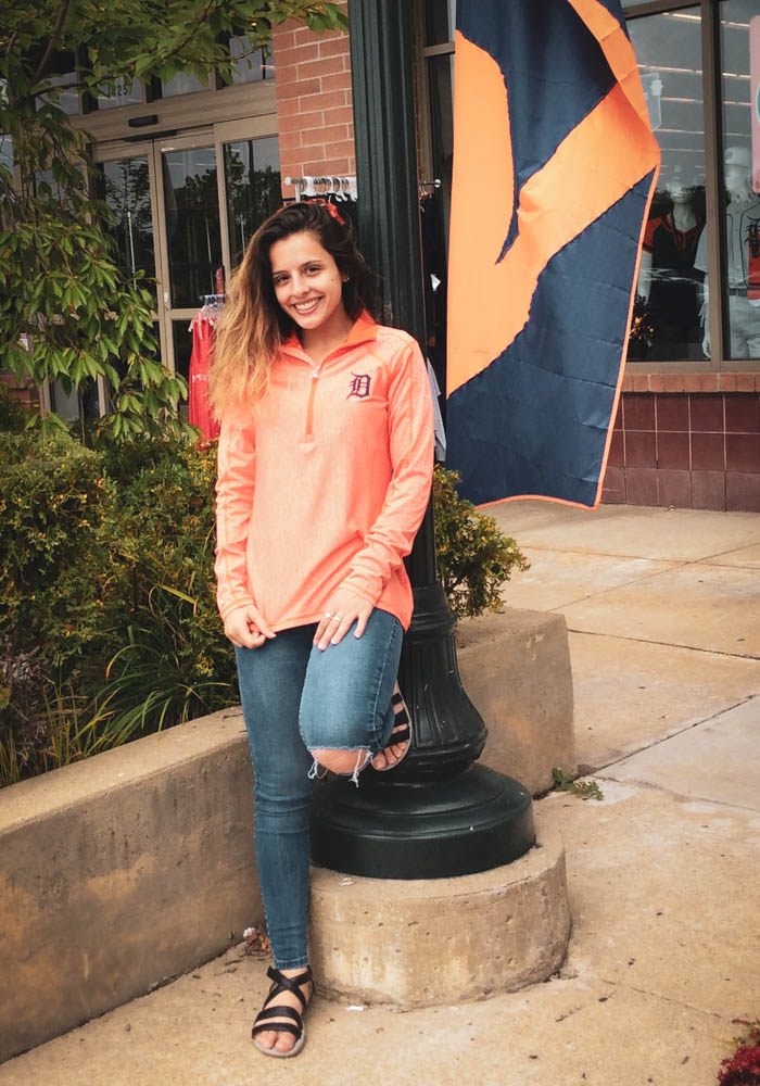 Antigua Detroit Tigers Womens Orange Tempo 1/4 Zip Pullover - Image 2