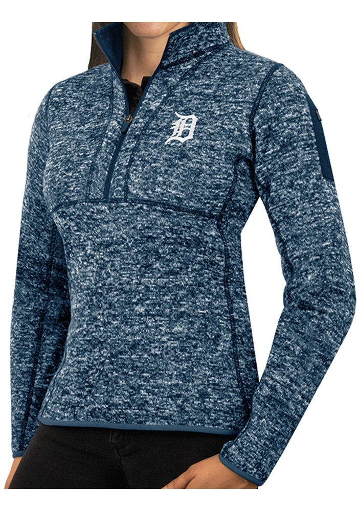 Antigua Detroit Tigers Womens Navy Blue Fortune 1/4 Zip Pullover - Image 1