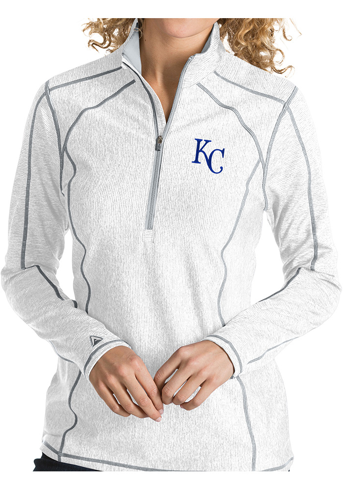 Antigua KC Royals Womens White Tempo 1/4 Zip Pullover - Image 1