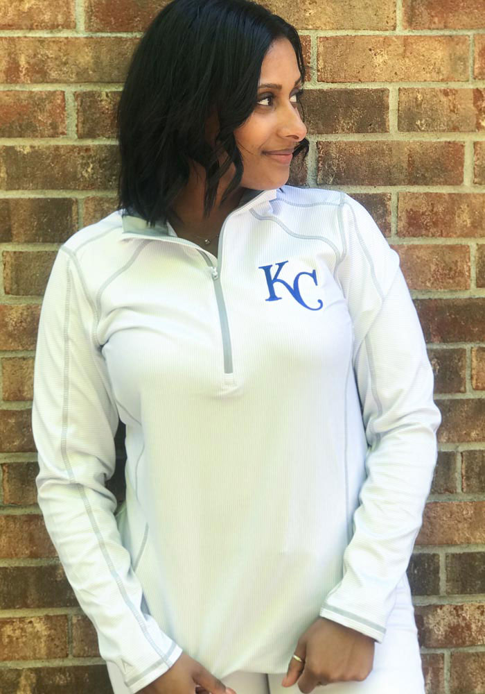 Antigua KC Royals Womens White Tempo 1/4 Zip Pullover - Image 2