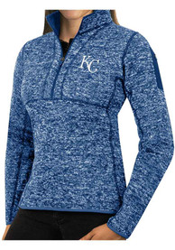 Kansas City Royals Womens Antigua Fortune 1/4 Zip Pullover - Blue