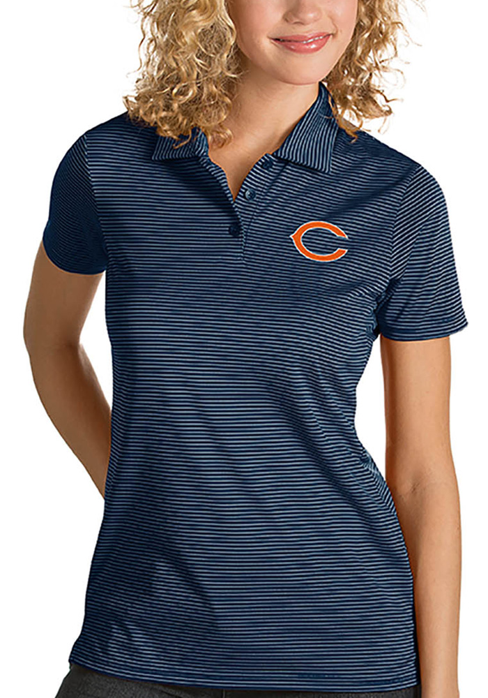 Antigua Chicago Bears Womens Navy Blue Quest Short Sleeve Polo Shirt - Image 1