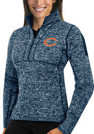 Chicago Bears Womens Antigua Fortune 1/4 Zip Pullover - Navy Blue