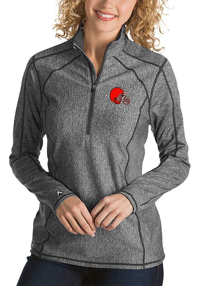 Antigua Cleveland Browns Womens Grey Tempo 1/4 Zip Pullover - Image 1